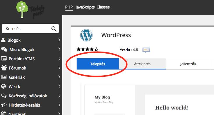 Wordpress telepítés Softaculousból