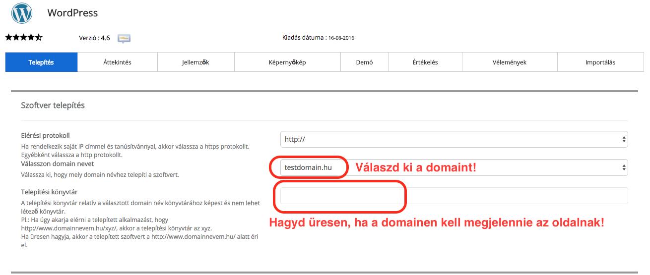 Wordpress telepítés, adatok megadása
