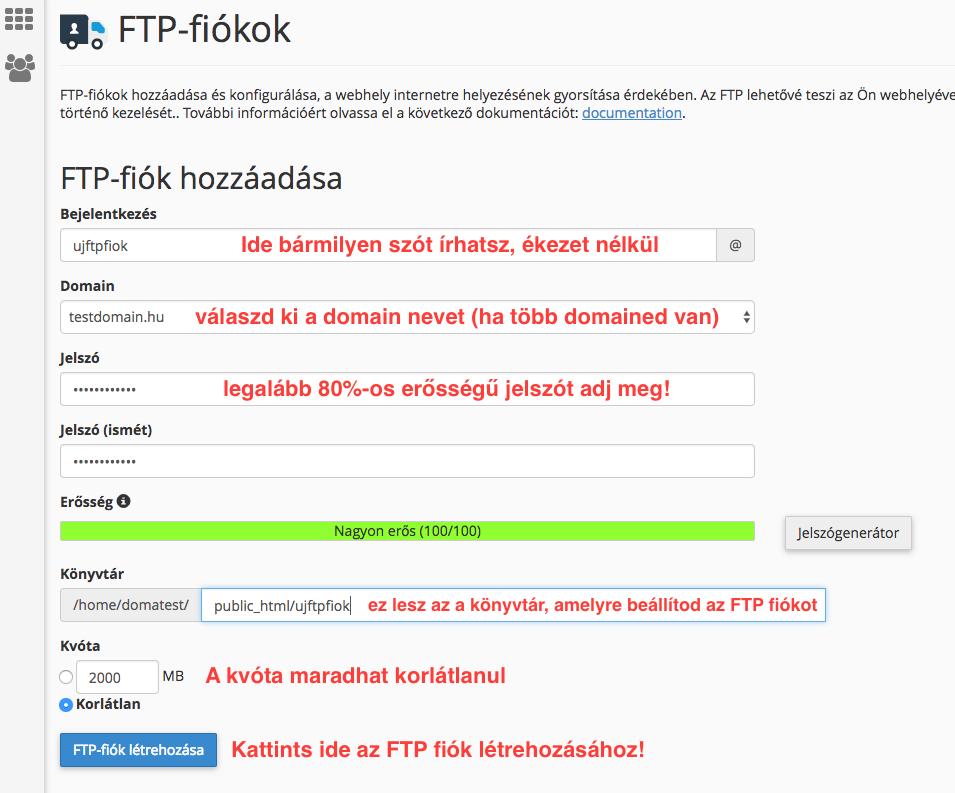 FTP fiók létrehozása a cpanelen
