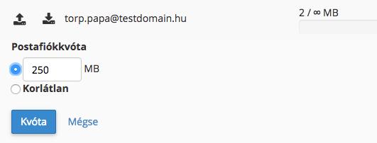 e-mail kvóta beállítása