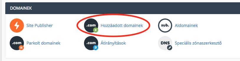 hozzáadott domain létrehozása