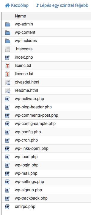 wordpress költöztetés 1 - cpanel fájlkezelő, fájl lista