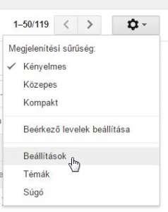 gmail pop3 beállítás