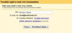gmail pop3 beállítás - Saját válaszcím megadása