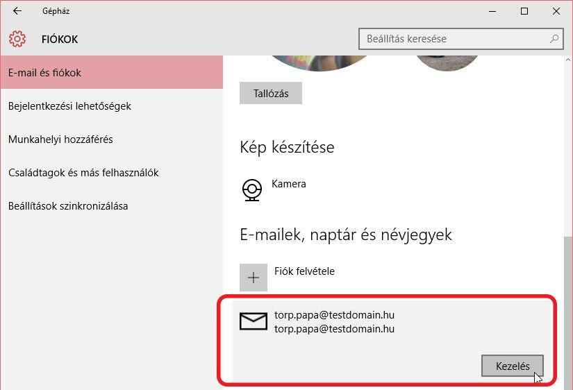 e-mail beállítás windows 10 - további beállítások