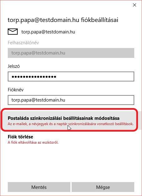 e-mail beállítás windows 10 - Postaláda szinkronizálási beállításainak módosítása
