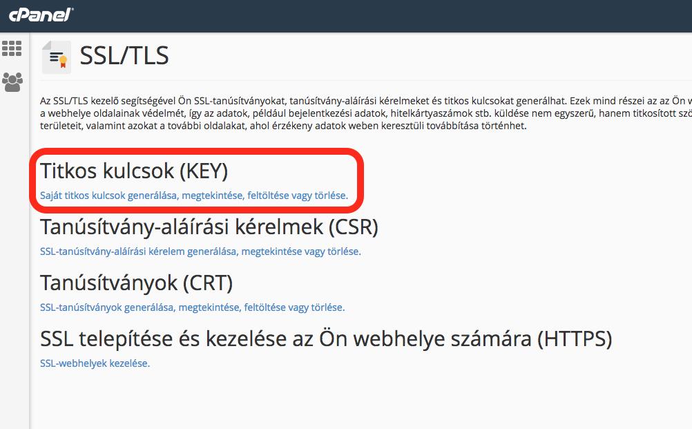 cpanel SSL Key