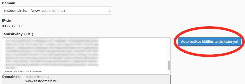 SSL automatikus kitöltés tanúsítvánnyal