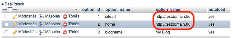 phpmyadminban a meglévő site és home URL