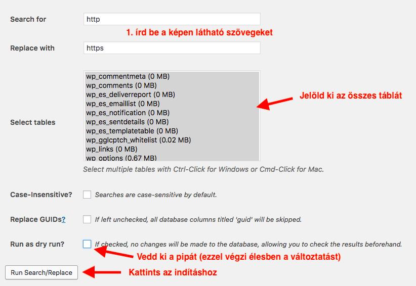 linkek cseréje https-re a Better Search&Replace pluginnal