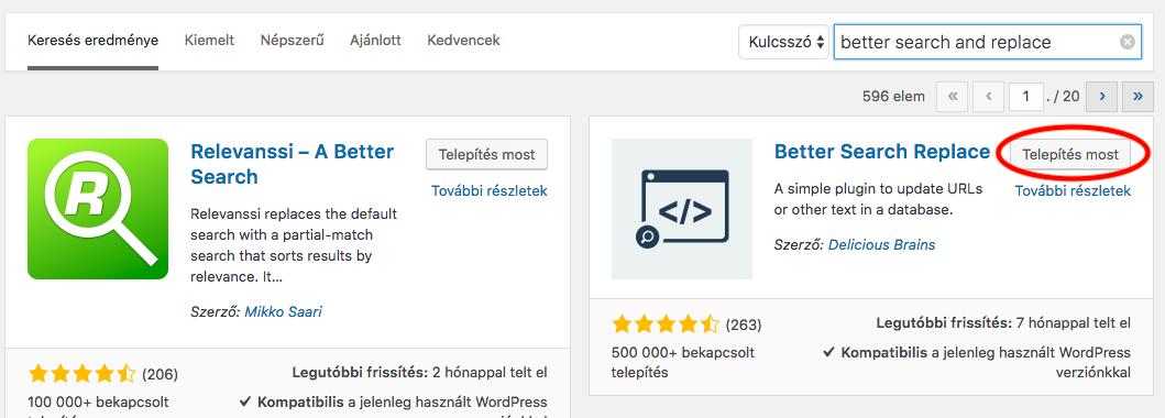 Wordpress adminból plugin keresése