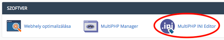 cpanel PHP értékek beállítása ikon