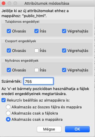 Összes mappa 755-re állítása FTP programmal